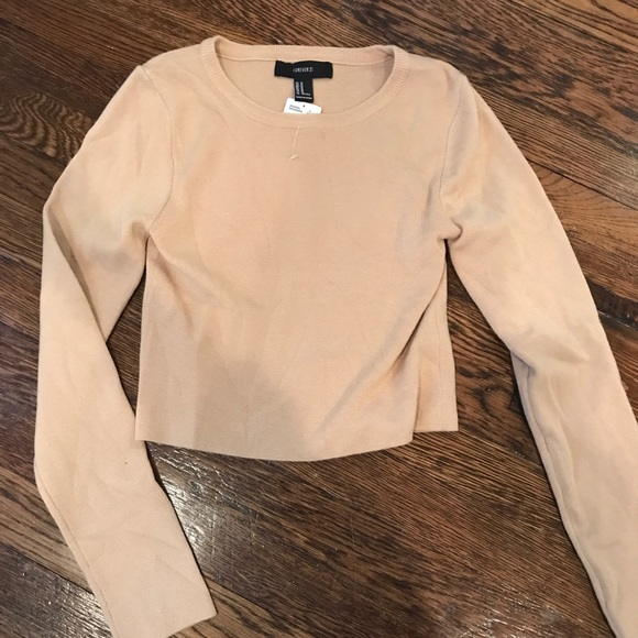 Forever 21 Tops - Forever 21 Cropped Camel Sweater